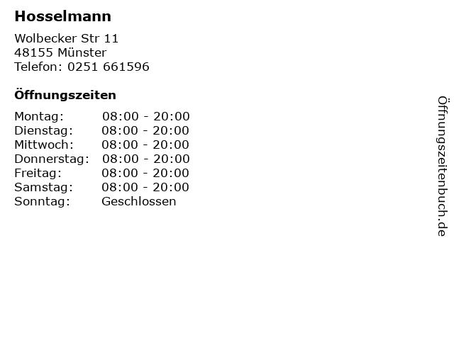 Hosselmann in Münster: Adresse und Öffnungszeiten
