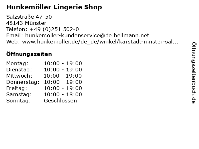 Hunkemöller Lingerie Shop in Münster: Adresse und Öffnungszeiten