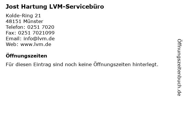 ᐅ Offnungszeiten Jost Hartung Lvm Serviceburo Kolde Ring 21 In