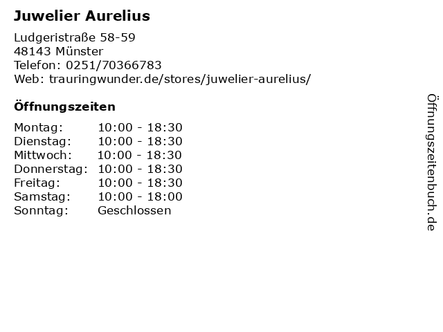 Juwelier Aurelius in Münster: Adresse und Öffnungszeiten