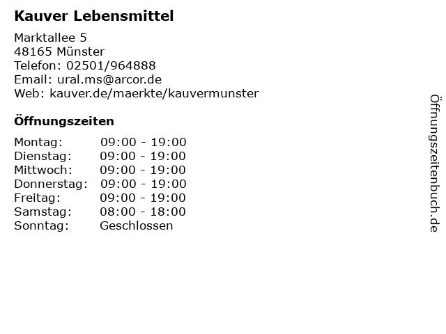Kauver Lebensmittel in Münster: Adresse und Öffnungszeiten