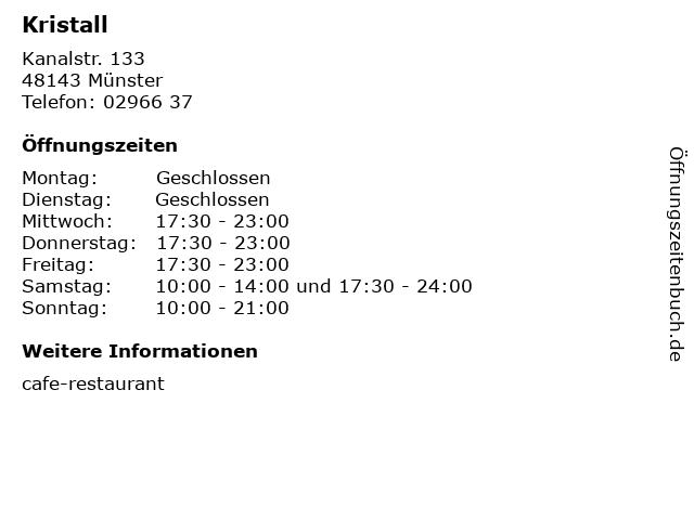Kristall in Münster: Adresse und Öffnungszeiten