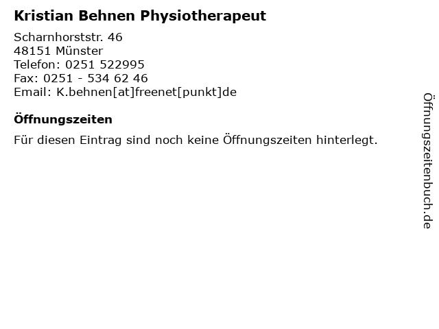 Kristian Behnen Physiotherapeut in Münster: Adresse und Öffnungszeiten