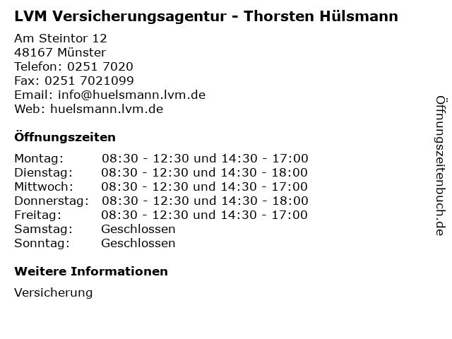 ᐅ Offnungszeiten Lvm Versicherungsagentur Thorsten Hulsmann
