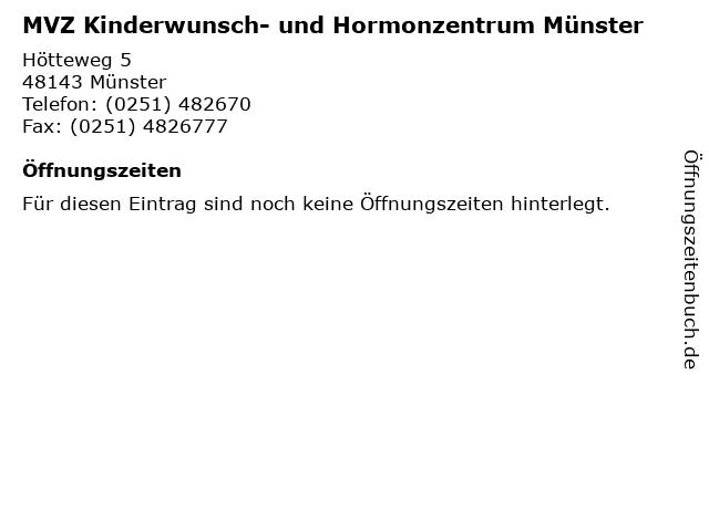 MVZ Kinderwunsch- und Hormonzentrum Münster in Münster: Adresse und Öffnungszeiten