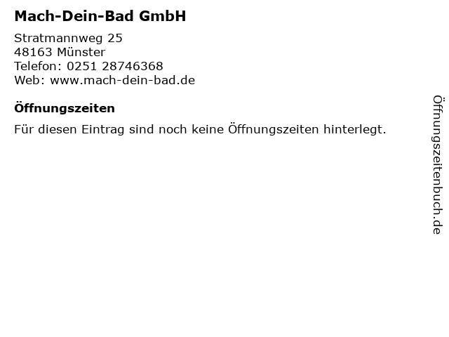 ᐅ öffnungszeiten Mach Dein Bad Gmbh Stratmannweg 25 In Münster