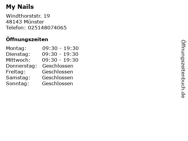 My Nails in Münster: Adresse und Öffnungszeiten