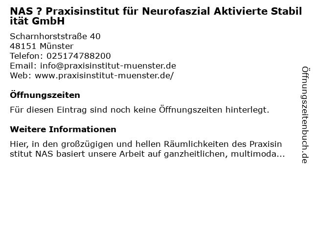 NAS ? Praxisinstitut für Neurofaszial Aktivierte Stabilität GmbH in Münster: Adresse und Öffnungszeiten