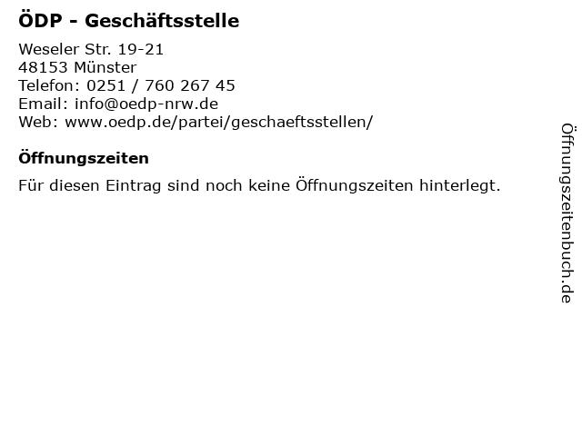 ÖDP - Geschäftsstelle in Münster: Adresse und Öffnungszeiten