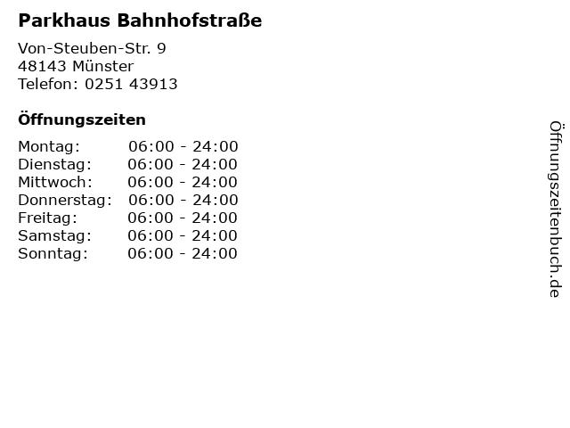Parkhaus Bahnhofstraße in Münster: Adresse und Öffnungszeiten