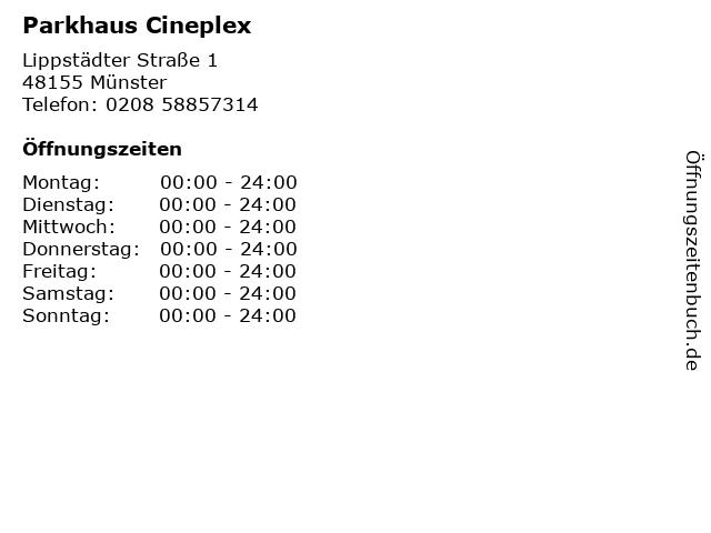 Parkhaus Cineplex in Münster: Adresse und Öffnungszeiten