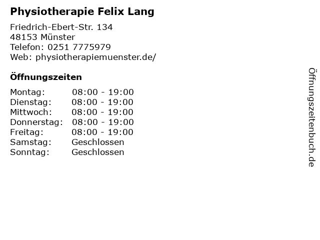 Physiotherapie Felix Lang in Münster: Adresse und Öffnungszeiten