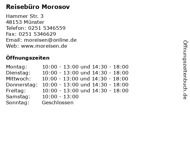 Reisebüro Morosov in Münster: Adresse und Öffnungszeiten