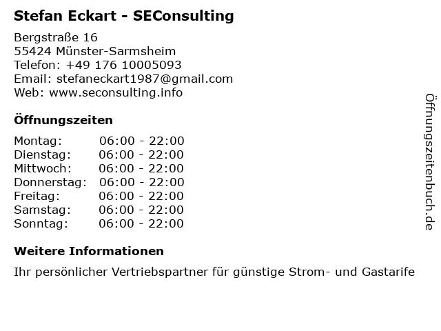Stefan Eckart - SEConsulting in Münster-Sarmsheim: Adresse und Öffnungszeiten