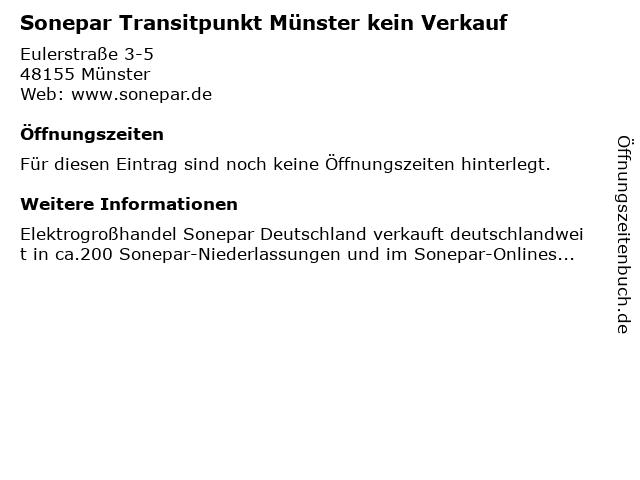 Sonepar Transitpunkt Münster kein Verkauf in Münster: Adresse und Öffnungszeiten
