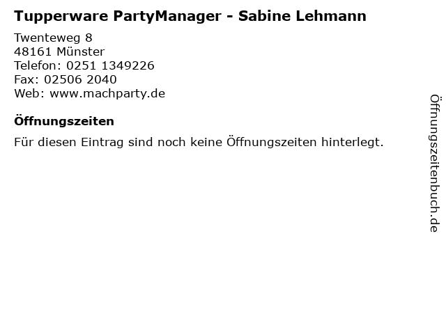 Tupperware PartyManager - Sabine Lehmann in Münster: Adresse und Öffnungszeiten