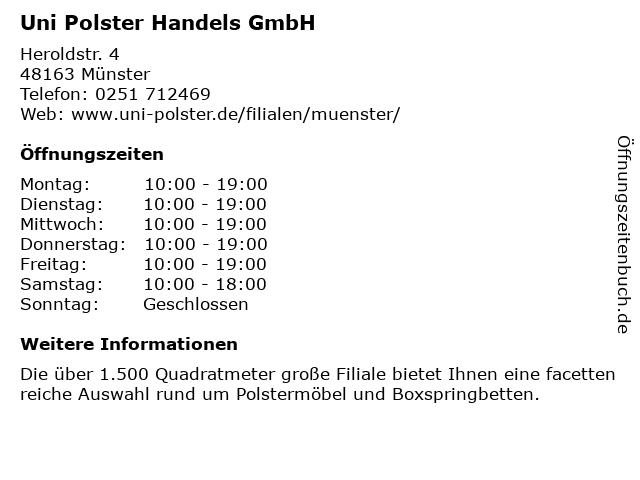 ᐅ öffnungszeiten Uni Polster Münster Heroldstr 4 In Münster