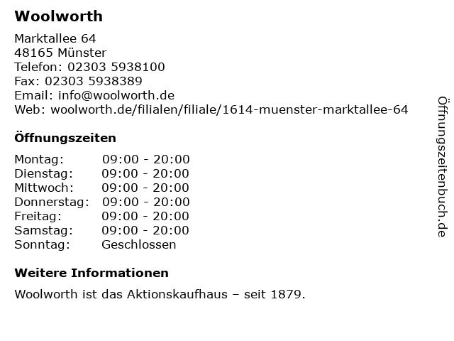Woolworth Kaufhaus in Münster: Adresse und Öffnungszeiten