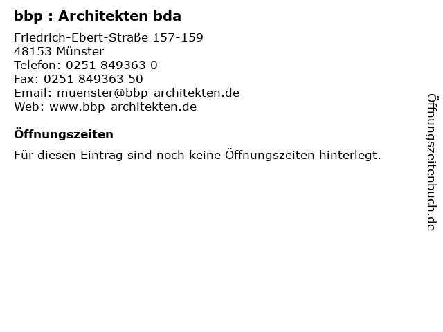 bbp : Architekten bda in Münster: Adresse und Öffnungszeiten
