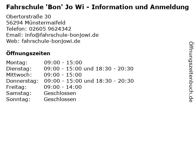 Fahrschule 'Bon' Jo Wi - Information und Anmeldung in Münstermaifeld: Adresse und Öffnungszeiten