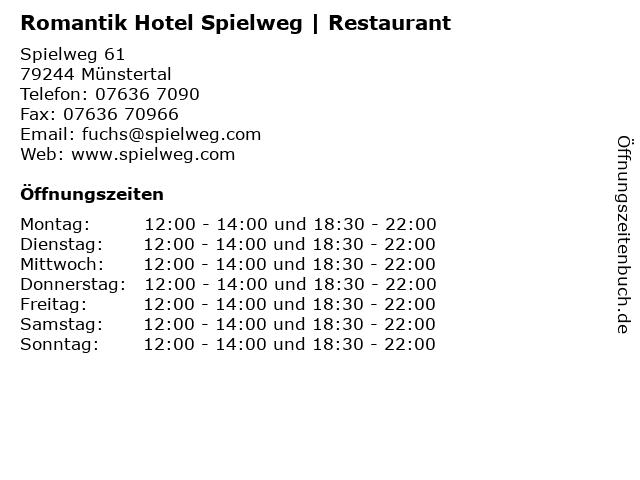 Romantik Hotel Spielweg   Restaurant in Münstertal: Adresse und Öffnungszeiten