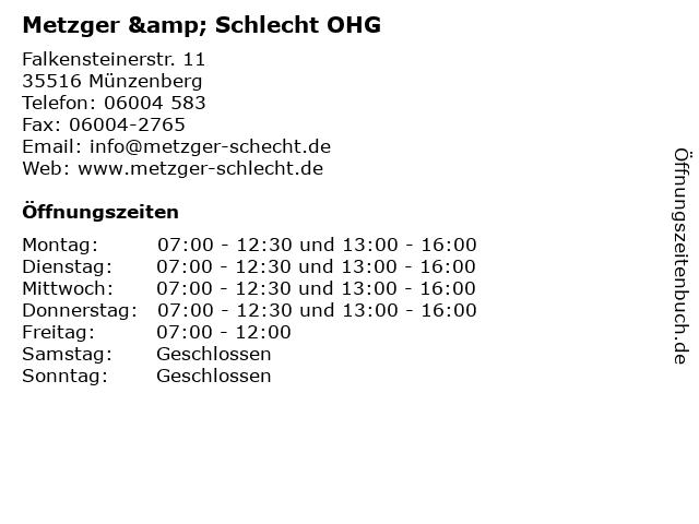 Metzger & Schlecht OHG in Münzenberg: Adresse und Öffnungszeiten