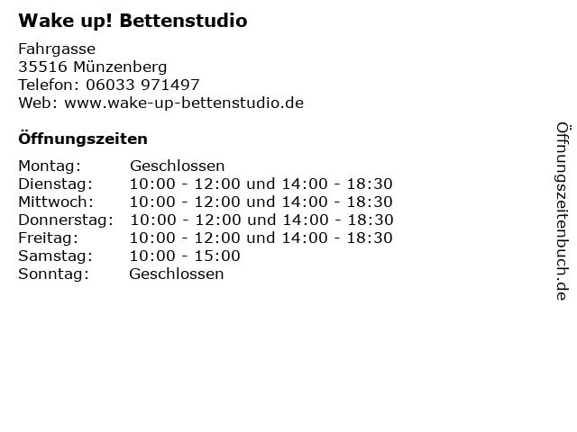 Wake up! Bettenstudio in Münzenberg: Adresse und Öffnungszeiten