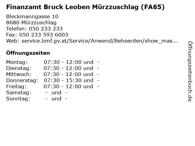 Finanzamt Bruck Leoben Mürzzuschlag (FA65) in Mürzzuschlag: Adresse und Öffnungszeiten