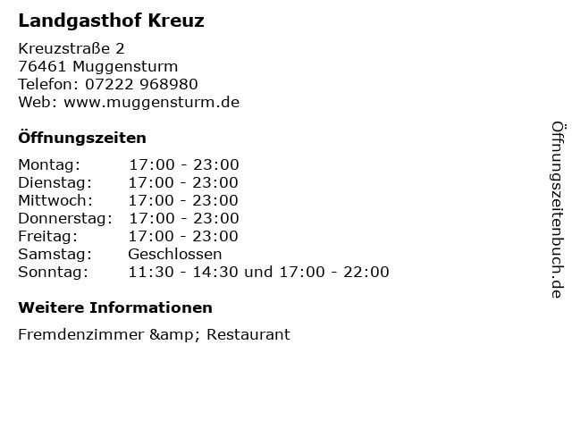 Landgasthof Kreuz in Muggensturm: Adresse und Öffnungszeiten