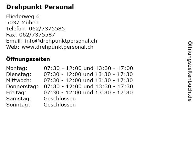 Drehpunkt Personal in Muhen: Adresse und Öffnungszeiten