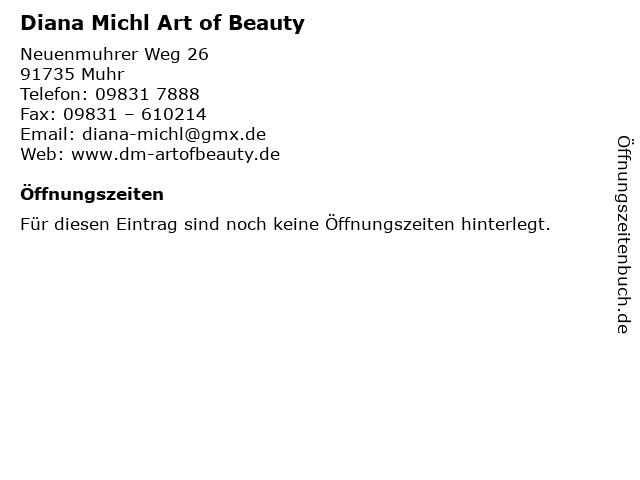 Diana Michl Art of Beauty in Muhr: Adresse und Öffnungszeiten