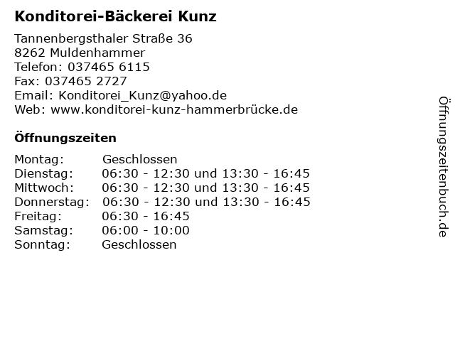 Konditorei-Bäckerei Kunz in Muldenhammer: Adresse und Öffnungszeiten