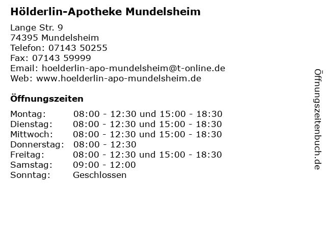 Hölderlin-Apotheke in Mundelsheim: Adresse und Öffnungszeiten
