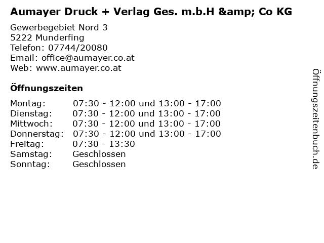Aumayer Druck + Verlag Ges. m.b.H & Co KG in Munderfing: Adresse und Öffnungszeiten
