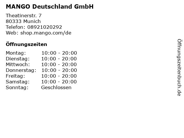MANGO Deutschland GmbH in Munich: Adresse und Öffnungszeiten
