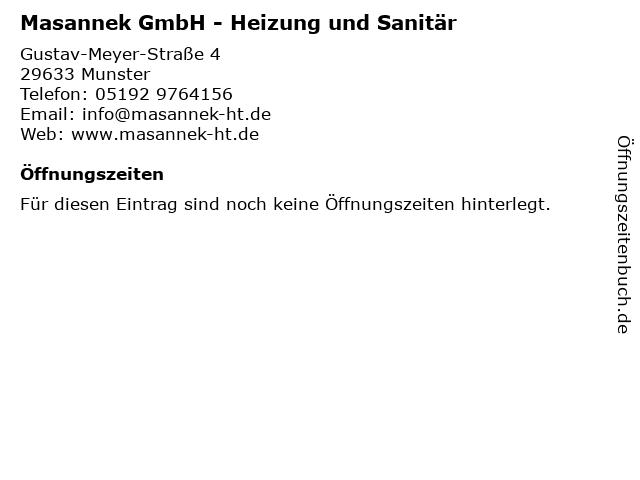 Masannek GmbH - Heizung und Sanitär in Munster: Adresse und Öffnungszeiten