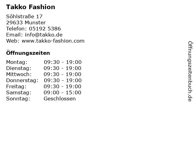 Takko Fashion in Munster: Adresse und Öffnungszeiten