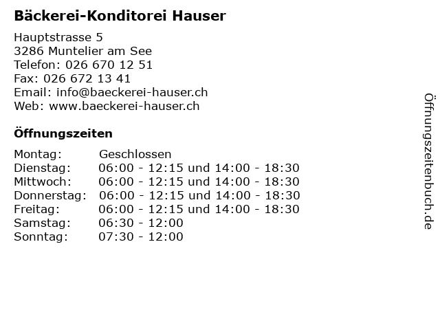 Bäckerei-Konditorei Hauser in Muntelier am See: Adresse und Öffnungszeiten