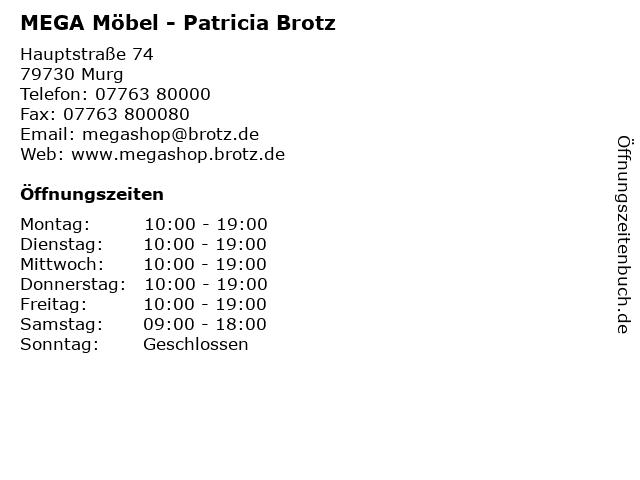 ᐅ Offnungszeiten Mega Mobel Patricia Brotz Hauptstrasse 74 In Murg