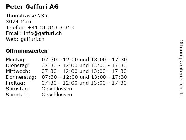 Peter Gaffuri AG in Muri: Adresse und Öffnungszeiten