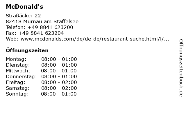 McDonald's in Murnau am Staffelsee: Adresse und Öffnungszeiten