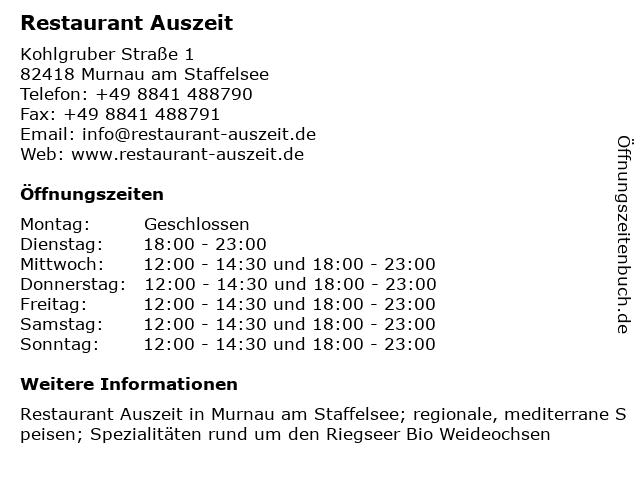 Restaurant Auszeit in Murnau am Staffelsee: Adresse und Öffnungszeiten