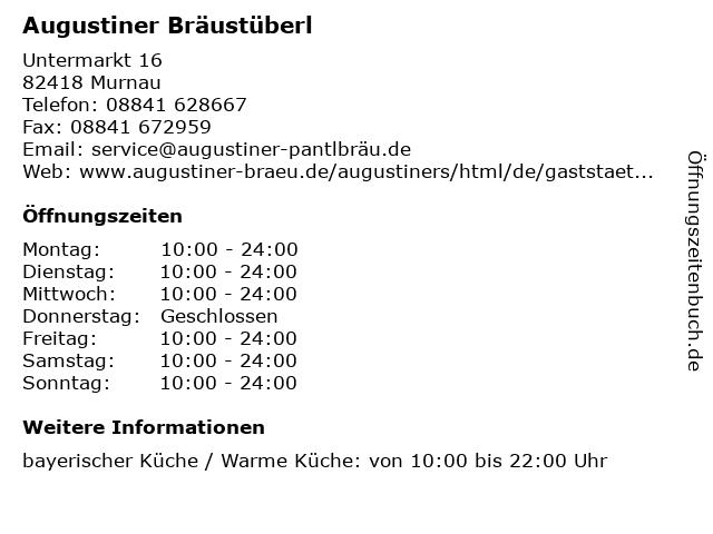 Augustiner Bräustüberl in Murnau: Adresse und Öffnungszeiten