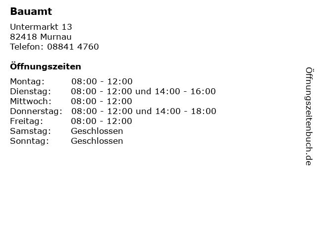 Bauamt in Murnau: Adresse und Öffnungszeiten