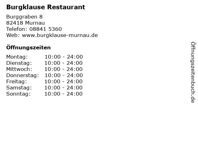 Burgklause Restaurant in Murnau: Adresse und Öffnungszeiten