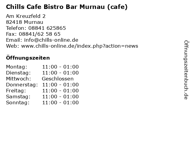 Chills Cafe Bistro Bar Murnau (cafe) in Murnau: Adresse und Öffnungszeiten