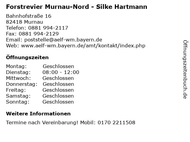 Forstrevier Murnau-Nord - Silke Hartmann in Murnau: Adresse und Öffnungszeiten
