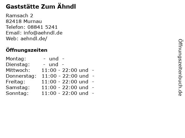 Gaststätte Zum Ähndl in Murnau: Adresse und Öffnungszeiten