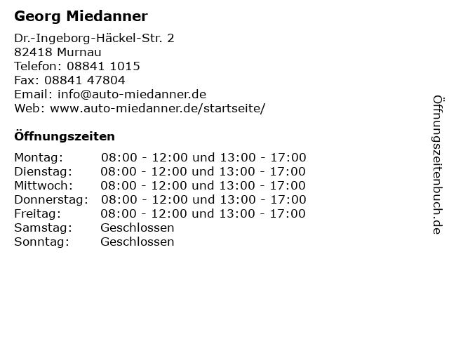 Georg Miedanner in Murnau: Adresse und Öffnungszeiten
