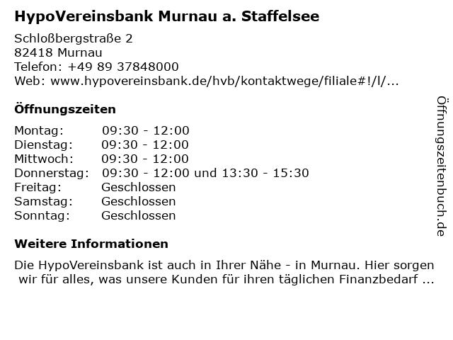 HypoVereinsbank Murnau a. Staffelsee in Murnau: Adresse und Öffnungszeiten
